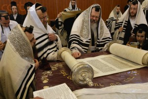 Rabbi Reading Torah Before Hasidic Congregation